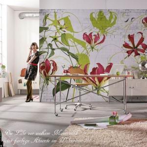 おしゃれな輸入壁紙 花柄 クロス だまし絵 368cm×254cm ドイツ製壁紙 粉のり付属/8-899 Gloriosa|interior-depot