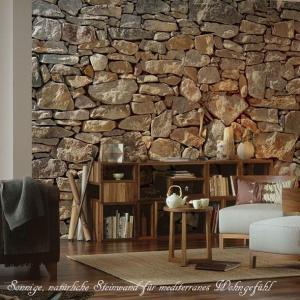 おしゃれな輸入壁紙 クロス 石壁 368cm×248cm ドイツ製壁紙/XXL4-727 Stone Wall|interior-depot