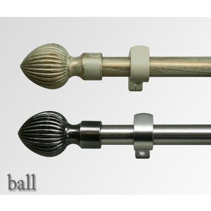 カーテンレール アイアン シングル 伸縮/ボール 1.2〜2.1m 装飾カーテンレール|interior-depot