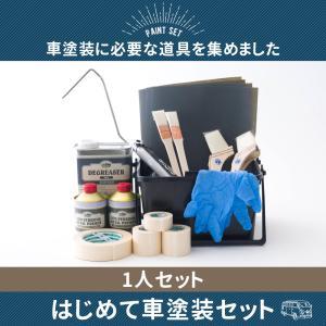 車 塗装 塗料 施工道具 車塗装 ペンキ カーペイント はじめて車塗装セット 1人セット|interior-depot