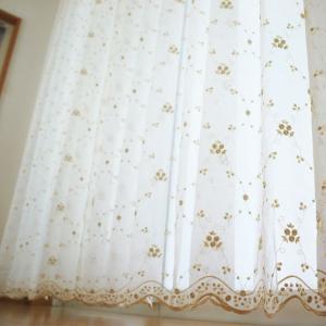 オーダーレースカーテン トルコ刺繍 シャンパンローズ TS803/巾〜100×丈〜270 1枚 JQ OKC|interior-depot