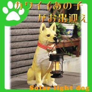 ソーラーライト 柴犬ポチ  / 太陽光 エクステリア 玄関灯 犬型 エントランス|interior-festa