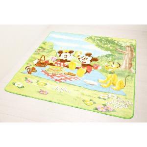 ミッキーマウス&ミニーマウス ポータブルカーペット 約190cmX190cm|interior-fuji