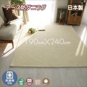 洗濯機で洗える アース防ダニ ラグ カーペット ホットカーペット対応 ポッシュ 約190cmX240cm interior-fuji