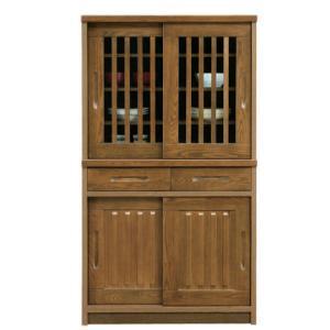 食器棚 和風 完成品 幅90cm 引き戸 開梱設置付き|interior-moka224