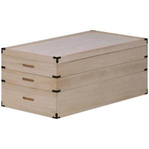 衣装箱 衣装ケース 桐箱 和タンス 3段 衣類収納 和風 小物チェスト シンプル 幅90cm 完成品 interior-moka224