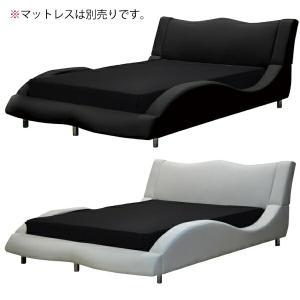 PVC合成皮革を使用した、モダンなワイドダブルベッドです。  【サイズ】ベッドフレーム:幅187 x...