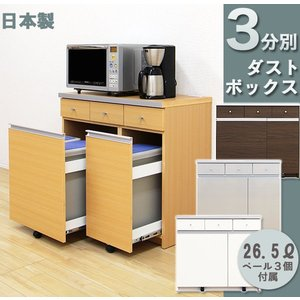 ダストボックス キッチンカウンター ペール付き 3分別  キッチン用ごみ箱 interior-moka224