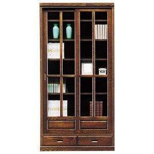 本棚 書棚 完成品 幅90cm 和 和風 引き戸 扉付き 開梱設置付 引き出し付き interior-more