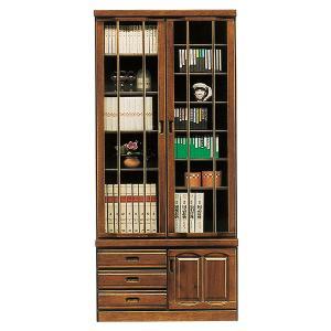 開梱設置付 本棚 扉付き 書棚 ブックシェルフ 幅90cm 完成品 和風モダン ガラス扉 引き出し付き interior-more