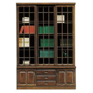 開梱設置付 本棚 引き戸 書棚 和風モダン ブックシェルフ 幅135cm 完成品 扉付き 引き出し付き interior-more