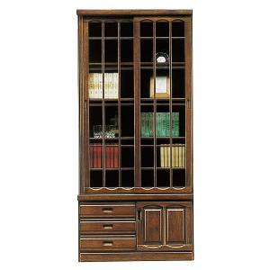 開梱設置付 本棚 書棚 和風モダン 引き戸 ブックシェルフ 幅90cm 完成品 ガラス扉 引き出し付き interior-more