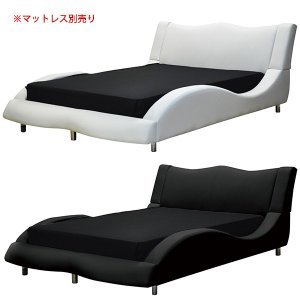 PVC合成皮革を使用した、モダンなダブルベッドです。  【サイズ】ベッドフレーム:幅174 x 奥行...