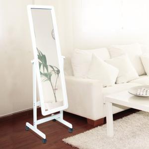 姿見 キャスターミラー ホワイトフレーム ( 鏡 全身鏡 ミラー )|interior-palette