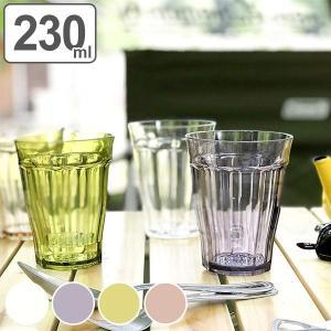 キラキラと輝くガラスのように透き通ったグラスです。容量約230mlです。樹脂製なので軽くて落としても...