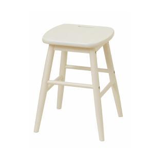 スツール 椅子 持ち手付 天然木 ine reno 座面高42cm ホワイト ( イス チェア チェアー 木製 白家具 )|interior-palette