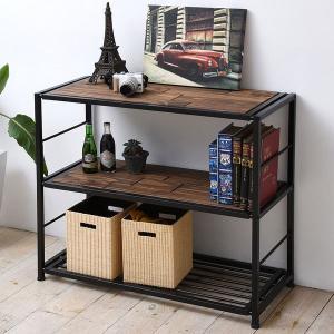 オープンラック 3段 GRANT 天然木 スチールフレーム 幅90cm ( ラック 収納棚 棚 ディスプレイラック ディスプレーラック )|interior-palette