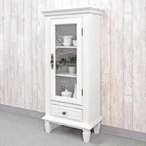 食器棚 キャビネット スリム アンティーク調 ロマンチック Duet 幅46cm ( カップボード キッチン収納 ミニキャビネット コレクションラック )|interior-palette
