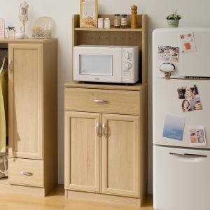 レンジボード 引出し付 ナチュラル調 ホノボーラ 幅57cm ( レンジ台 食器棚 キッチン収納 戸棚 北欧 ) interior-palette