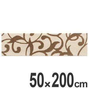 キッチンマット 200 50×200cm 滑り止め インテリアマット フローラルシルエット ( キッチン マット 200cm カーペット ラグ )|interior-palette