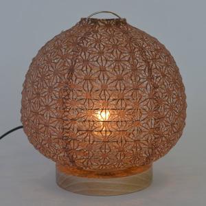 テーブルライト 和紙 テーブルランプ 麻葉唐茶 ( 照明 テーブル LED )|interior-palette