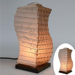 テーブルライト 和紙 テーブルランプ 黒雲龍X麻葉唐茶 ( 照明 テーブル LED )|interior-palette