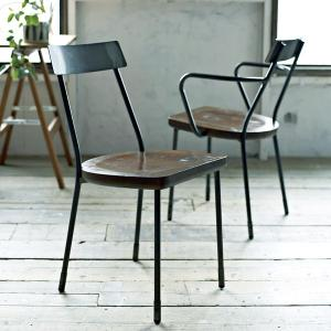 チェアー メタルチェアー ガンメタル ( ダイニングチェア イス 椅子 )|interior-palette