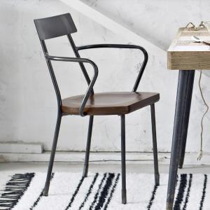 チェアー メタルアームチェアー ガンメタル ( ダイニングチェア イス 椅子 )|interior-palette