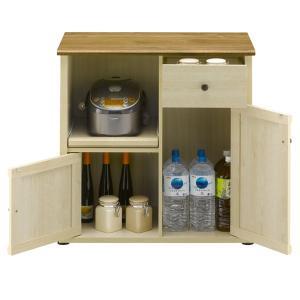 キッチンカウンター スライド棚フレンチカントリー Milfie 幅79cm ( 棚 キッチン収納 リビング収納 家電収納 食品収納 スライド引出し 食器棚 )|interior-palette
