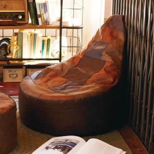 ビーズクッション クッション チェアビーズクッション ディオ DIO 涙型 ( 背もたれつき レザー調 ビーズソファー )|interior-palette
