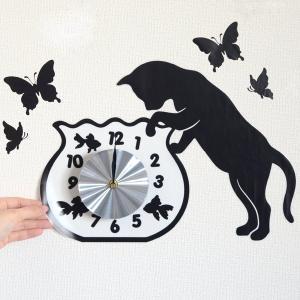 ウォールクロックステッカー ウォールステッカー 時計 猫 フィッシュボール Wall Clock Sticker ( ウォールクロック キャット ステッカー )|interior-palette