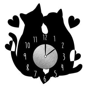 ウォールクロックステッカー ウォールステッカー 時計 猫 カップル Wall Clock Sticker ( ウォールクロック キャット ステッカー )|interior-palette