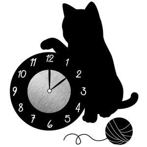 ウォールクロックステッカー ウォールステッカー 時計 猫 じゃれる Wall Clock Sticker ( ウォールクロック キャット ステッカー )|interior-palette