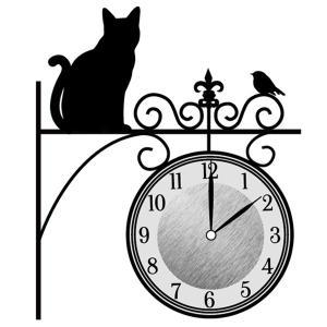 ウォールクロックステッカー ウォールステッカー 時計 猫 まちねこ Wall Clock Sticker ( ウォールクロック キャット ステッカー )|interior-palette
