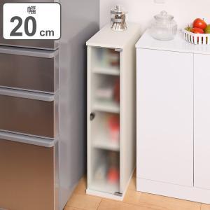 キッチン収納 すき間収納 食器棚 ガラスキャビネット 4段 スレンダー 幅20cm ( 収納棚 すき間 隙間 スリムラック ホワイト シンプル 白 )|interior-palette