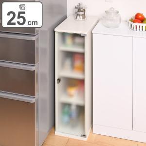 キッチン収納 すき間収納 食器棚 ガラスキャビネット 4段 スレンダー 幅25cm ( 収納棚 すき間 隙間 スリムラック ホワイト シンプル 白 )|interior-palette