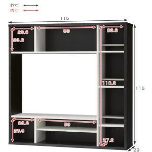 テレビ台 壁面収納 DVDラック付 オールインワン 幅115cm ( TV台 TVボード 壁面 ラック 収納 リビング ハイタイプ 本棚 )|interior-palette|05