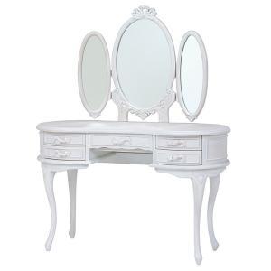三面鏡 ドレッサー 姫系 ロマンチック HAMPTON 幅115cm ( 白家具 猫脚 クラシック )|interior-palette