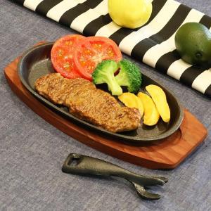 鉄板 ステーキ皿 24cm 鉄鋳物製 木製プレート付き ハン...