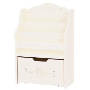 絵本ラック 本棚 収納ボックス付 姫系 ロマンチック 幅60cm ( 絵本 収納 マガジンラック )|interior-palette