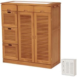 キッチンカウンター 食器棚 木製 タイルトップ キャスター付 幅82cm ( キッチン家具 収納 キッチン台 カウンターキッチン )|interior-palette
