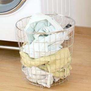 室内物干し ステンレス ランドリーバスケット ( 洗濯かご 洗濯カゴ 脱衣かご 脱衣カゴ バスケット )|interior-palette