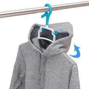 【週末限定クーポン】洗濯ハンガー らくらくパーカーハンガー 衣類ハンガー 太竿対応 ( フード付き パーカー 厚手 トレーナー 速乾 立体乾燥 )|interior-palette