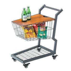 サイドテーブル 買い物カート風 スチールフレーム キャスター付 幅36cm ( ワゴン カゴ 収納 おしゃれ カート テーブル )|interior-palette