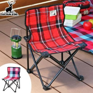 折りたたみ椅子 起毛コンパクトチェア チェック柄 携帯用