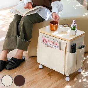 サイドテーブル キャスター 幅35×奥行23×高さ37cm 木目調天板タイプ ワゴン テーブル 布製 ( 収納 キャスター付き 収納ワゴン サイドテーブルワゴン )|interior-palette