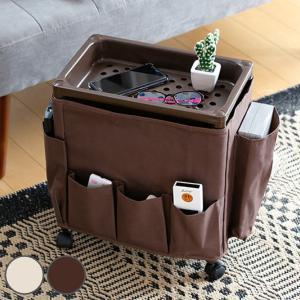 サイドテーブル キャスター 幅35×奥行23×高さ38cm バスケットタイプ ワゴン テーブル 布製 ( 収納 キャスター付き 収納ワゴン サイドテーブルワゴン )|interior-palette
