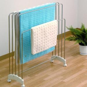 バスタオルハンガー 4枚干し ステンレス製 キャスター付き ( 室内干し 部屋干し 室内物干し タオルハンガー バスタオル掛け ハンガー )|interior-palette