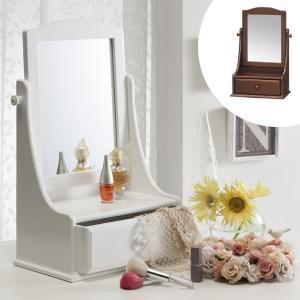 ミニドレッサー サンタフェ 幅31cm ( 卓上ミラー ミラー 鏡 卓上 木製フレーム 四角 シンプル )|interior-palette