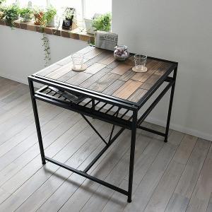 ダイニングテーブル 食卓 天然木 スチールフレーム GRANT 幅75cm ( テーブル 食卓テーブル リビングテーブル ダイニング 2人用 二人用 )|interior-palette